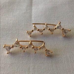 New! 18K gold bow design crystal ear crawlers